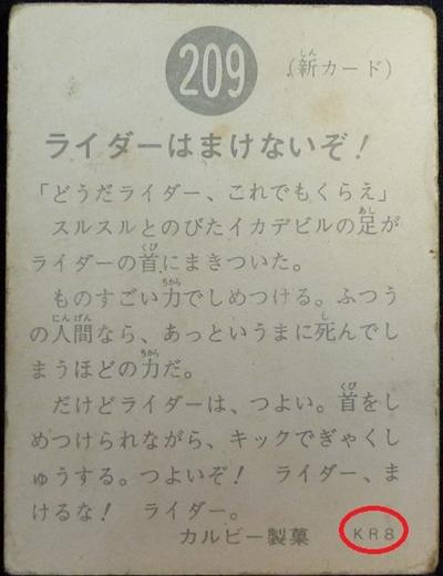 仮面ライダーカード 209番 ライダーはまけないぞ! KR8