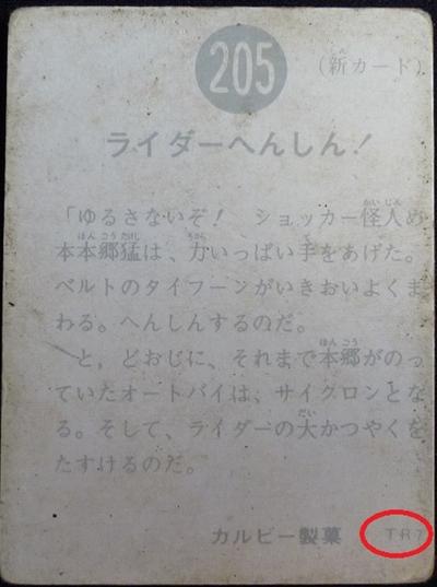 仮面ライダーカード 205番 ライダーへんしん! TR7